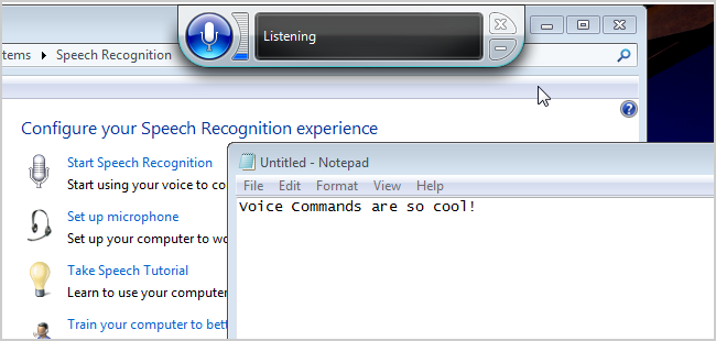 Voice commands are not just for smart phones, now they are baked into your PC also. You can use your voice to dictate text and control your computer through the Speech Recognition application included in Windows.