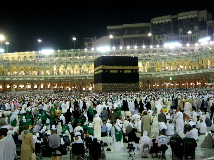 Muslims bow down to the Kabah